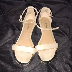 Cute tan sandals with ankle strap